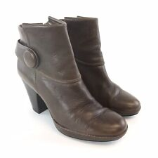 CLARKS Size 39 UK6 Ladies Brown Leather Ankle Buttons Zip Up High Heeled Boots