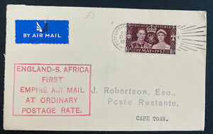 1937 Portsmouth England First Empire Flight Cover To Cape Town south Africa
