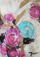 JOSE TRUJILLO Large Acrylic Painting FLOWERS Floral Decor CONTEMPORARY Abstract