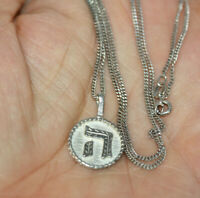 """Vintage Sterling Silver Jewish Pie Letter Small Charm Necklace 18"""" Link Chain"""