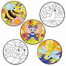 Bug Colour-in Window Decorations Kids Crafts Actiity (Pack of 6) Spring Easter