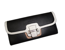 New Coach Taylor Spectator Leather Slim Envelope Wallet Black/White F50738