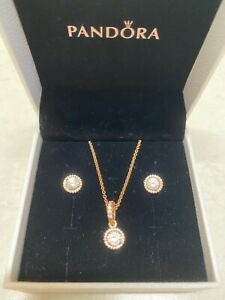 Pandora rose gold necklace and earrings set