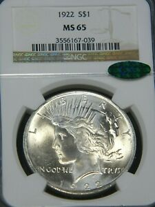 1922 Peace Silver Dollar NGC MS65 CAC Blast White Gorgeous Luster, PQ #G712