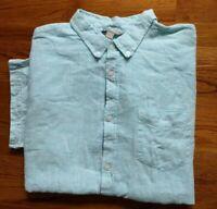 FALLS CREEK Sky Blue Linen/Cotton Short Sleeve  Button Down Shirt Men XXL EUC