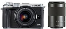 Canon EOS M6 Digital Camera EF-M 15-45mm/ 55-200mm Double Zoom Lens Kit -Silver-