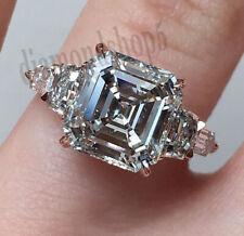14k Solid Rose Gold Asscher Cut Colorless 3 Ct Moissanite Engagement Unique Ring