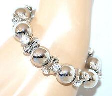 BRACCIALE donna argento strass cristalli molla elastico elegante cerimonia F340
