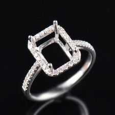 Natural Diamond Semi Mount Ring Settings Emerald Cut 7×9mm Solid 14K White Gold