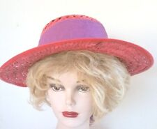 Red Straw Hat with Cut Out Details on Crown, Purple Band with Bow  Red Hat Sun