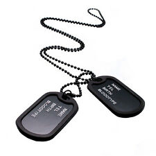 Men's Interesting Military Army Style Black 2 Dog Tags Chain Pendant Necklace