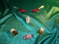 6 x alter Christbaumschmuck Glas Zapfen Glocken Vögel rot gold weiß Weihnachten