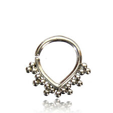 TRIBAL 16G STERLING SILVER HANGING SEPTUM SMALL 8.5MM RING NOSE AFGHAN HELIX EAR