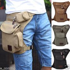 Mens Multifunction Outdoor Leg Bag Canvas Waistbag Money Belt Fanny Pack Black