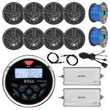 "Radio, 8x 6.5"" Speakers, 2x 4-Ch Amp, 100Ft Wire, 2x Antenna, USB Mount"