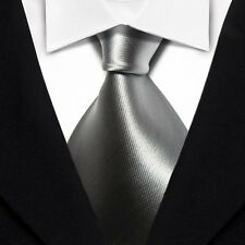 JK0011 Solid Plain Silver Classic New 100%Silk Jacquard Woven Necktie Men's Tie