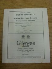 14/12/1957 Rugby Union Programme: United Services (Chatham) v Old Alleynians [At