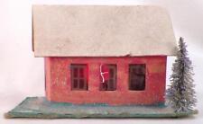 Vintage Christmas House Train Yard Putz Display Pink Cardboard Brush Tree #115