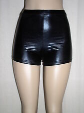 NEW Sexy SHINY BLACK Faux Leather METALLIC Spandex Derby BOOTY SHORTS - XS S 0 2