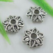 100pcs Tibetan Silver Flower End Bead Caps 8mm   (Lead-free)