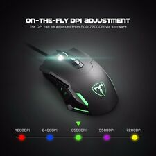 LED Light Up Programmable Gaming Mouse 7200DPI for PC Support Macro Editor Black