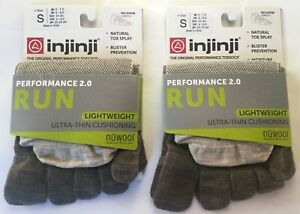 Injinji Performance 2.0 Run 2-Pack NuWool Lightweight Toe Socks Small Oat