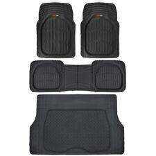 BLACK FLOOR MAT SET + CARGO/TRUNK LINER Heavy Duty Carpet Protectors covers 4