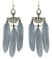 F3460 fashion gray Feather chain cute dangle chandelier earrings jewelry