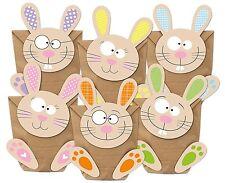 6 Ostertüten mit bunten Hasen zum selber Basteln und Befüllen