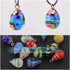 20x12mm Millefiori Lampwork Glass Charms Teardrop Loose Beads Pendants Findings