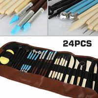 24Pcs Ceramic Tools Set Clay Sculpting Carving Modeling Combination Tool Kit Set