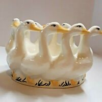 Vintage Hand Painted Ceramic Goose Decorative Garden Piece Gaggle of Geese