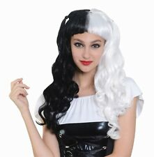 Adult Ladies Halloween Long Wig Black / White Bunches Fancy Dress Accessory