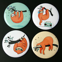 Sloths Fridge Magnet Set 4pc 55mm Funny Sloth Illustrations Kitchen Decor Gift