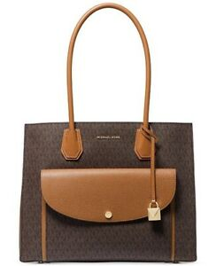 NWT Michael Kors Mercer Extra Large Tote in Brown Acorn Gold MSRP $358 ABFB