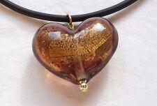 Pendentif coeur en véritable verre de Murano .