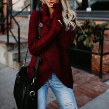 Women Irregular Buttons Cardigan Outwear Sweater Jacket Poncho Knit Coat Top