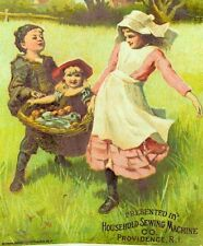 1870's-80's Kids Carrying Basket of Apples Household Sewing Machine Card F83