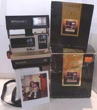 Polaroid 600 Instant Film Camera Gold SE 50th Anniversary +Box & Manual -TESTED