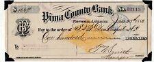 1880   Tombstone, Arizona Territory. Pima County Bank Revenue Bank.   Check RNG1