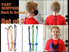 Set of 3 Face Mask Holder with Adjustable Strap for Kids School Pack Lanyards