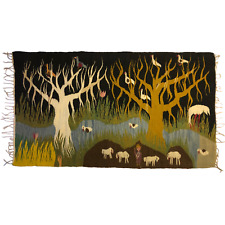Stunning Polish Handwoven Large Kilim Rug / Tapestry with Trees, Animals, Figure