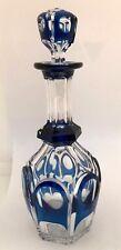 RARE carafe MARIE - STUART n°2 Cristal bleu taillé VAL SAINT LAMBERT 1930