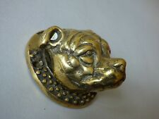 More details for mounted architectural staffordshire bull terrier dog head brass door knocker #3