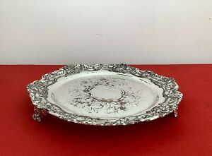 19th C. Georgian Old Sheffield Plate Repousse Footed Calling Card Tray C1800