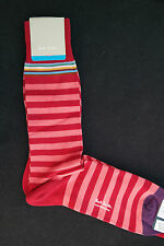 Paul Smith Mens Mid Length English Socks Multi Stripe Red F602 One Size Cotton