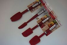 New KitchenAid Set of Four Empire Red Spatulas (Color: HERA)