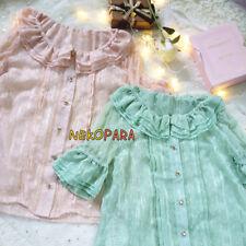 Cute Women's Summer Lace Lolita Blouse Short Star Mesh Sleeve Thin Vintage Shirt