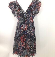 New H&M Womens Sz 10 M Floral Dress Sundress Black Empire Waist Lined Ruffled V