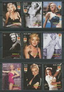 Marilyn Monroe MNH Set of 9 Stamps 2001 Somalia Actress Movie Celebrity